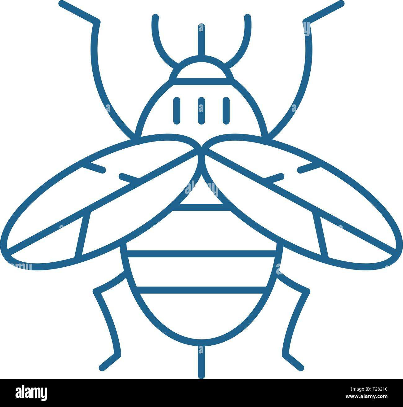 Bee line icon concept. Bee flat  vector symbol, sign, outline illustration. - Stock Vector