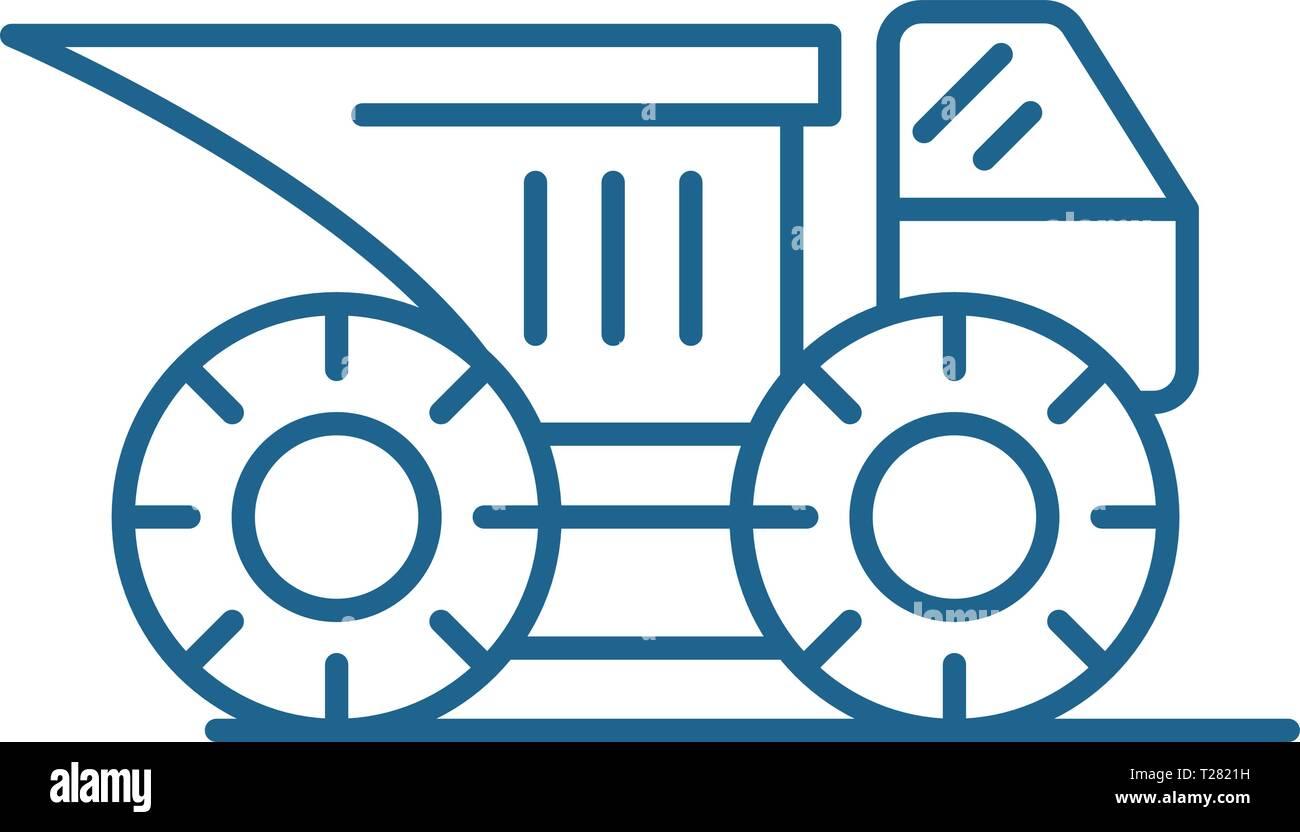 Big construction machine line icon concept. Big construction machine flat  vector symbol, sign, outline illustration. - Stock Vector