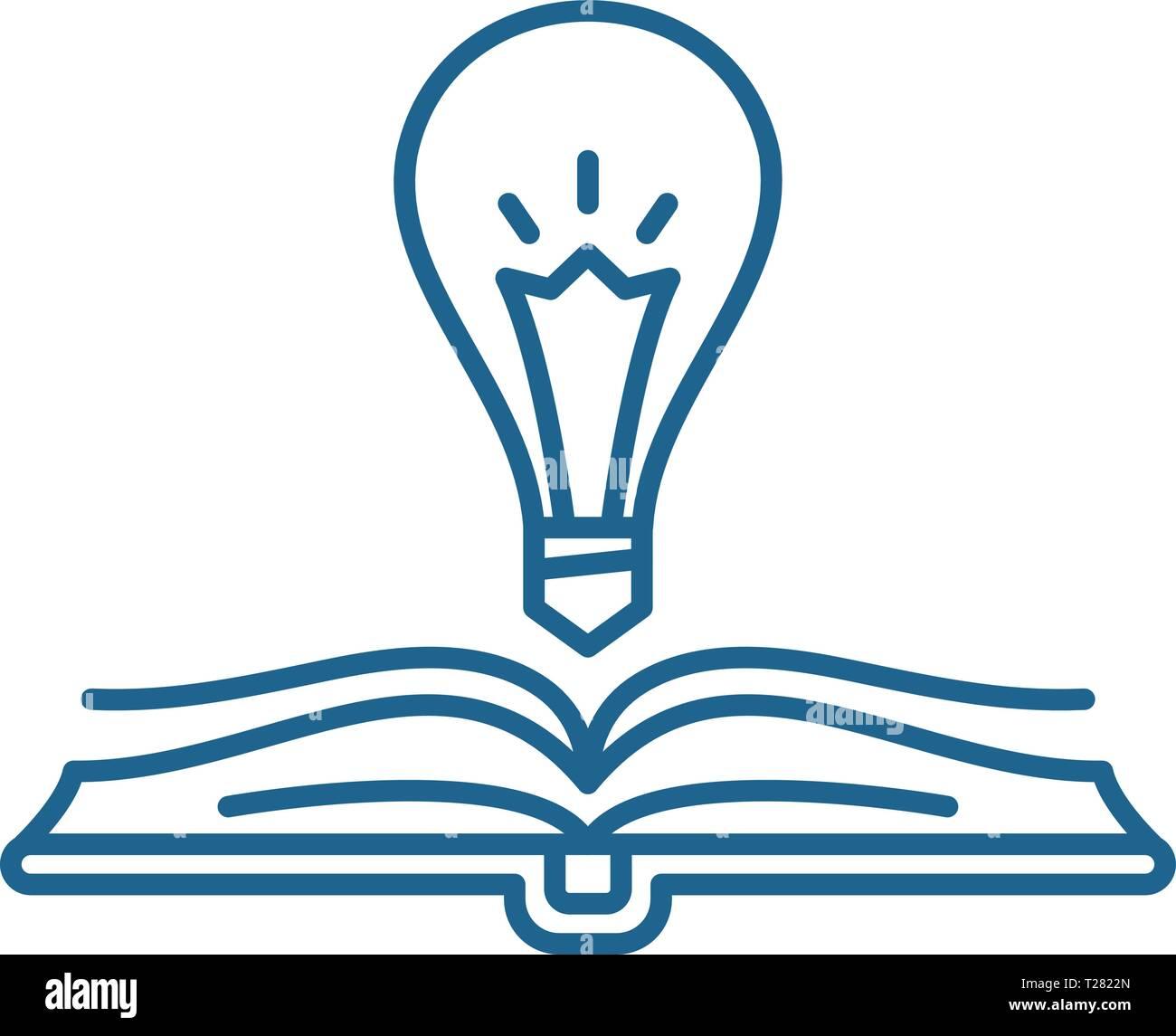Book wisdom line icon concept. Book wisdom flat  vector symbol, sign, outline illustration. - Stock Vector