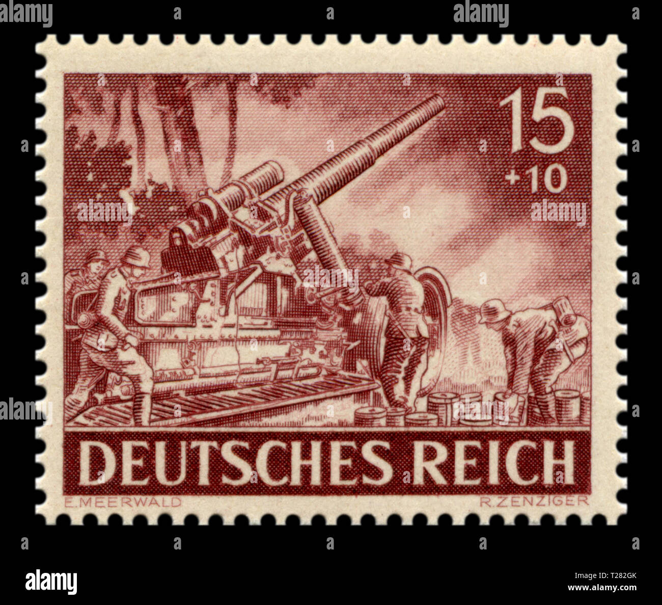 German historical stamp: 17 cm Cannon 18 on Heavy Howitzer Carriage, Artillery troops. The heavy artillery of the Wehrmacht, memorial day issue 1943 - Stock Image