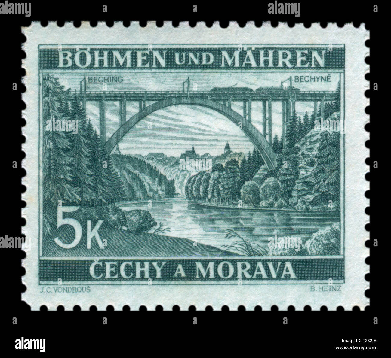 Czechoslovakian historical stamp: Bohemia and Moravia - Local Motifs, high railway arch bridge over the river near the city Bechin, 1940, Germany, DR - Stock Image