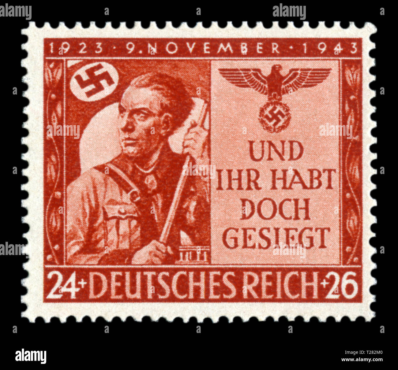 German historical stamp: The 20th anniversary of the 'Beer putsch', 'Against all odds, we won,' a young man from Hitler's youth with a flag, Germany - Stock Image