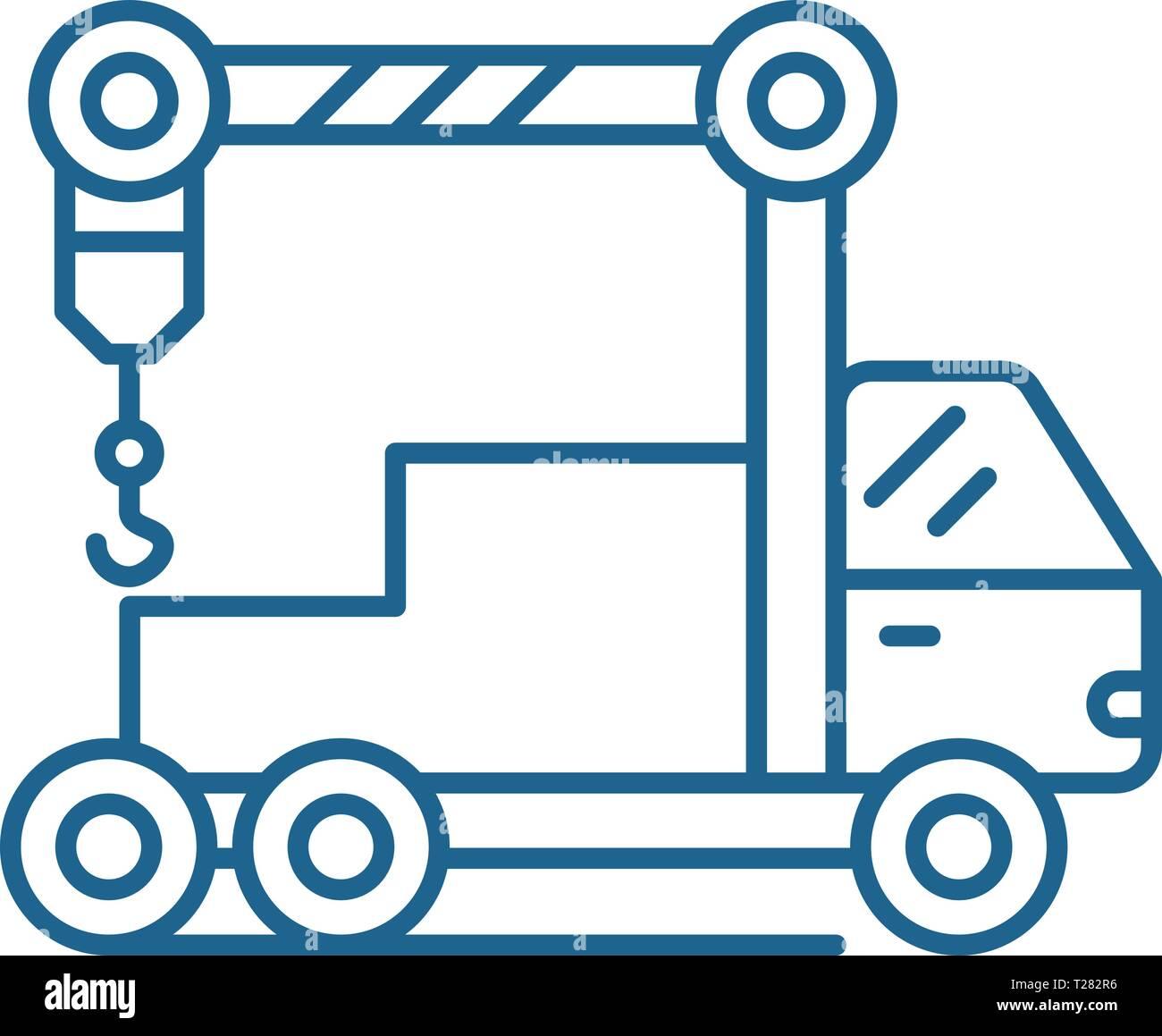 Crane machine line icon concept. Crane machine flat  vector symbol, sign, outline illustration. - Stock Vector