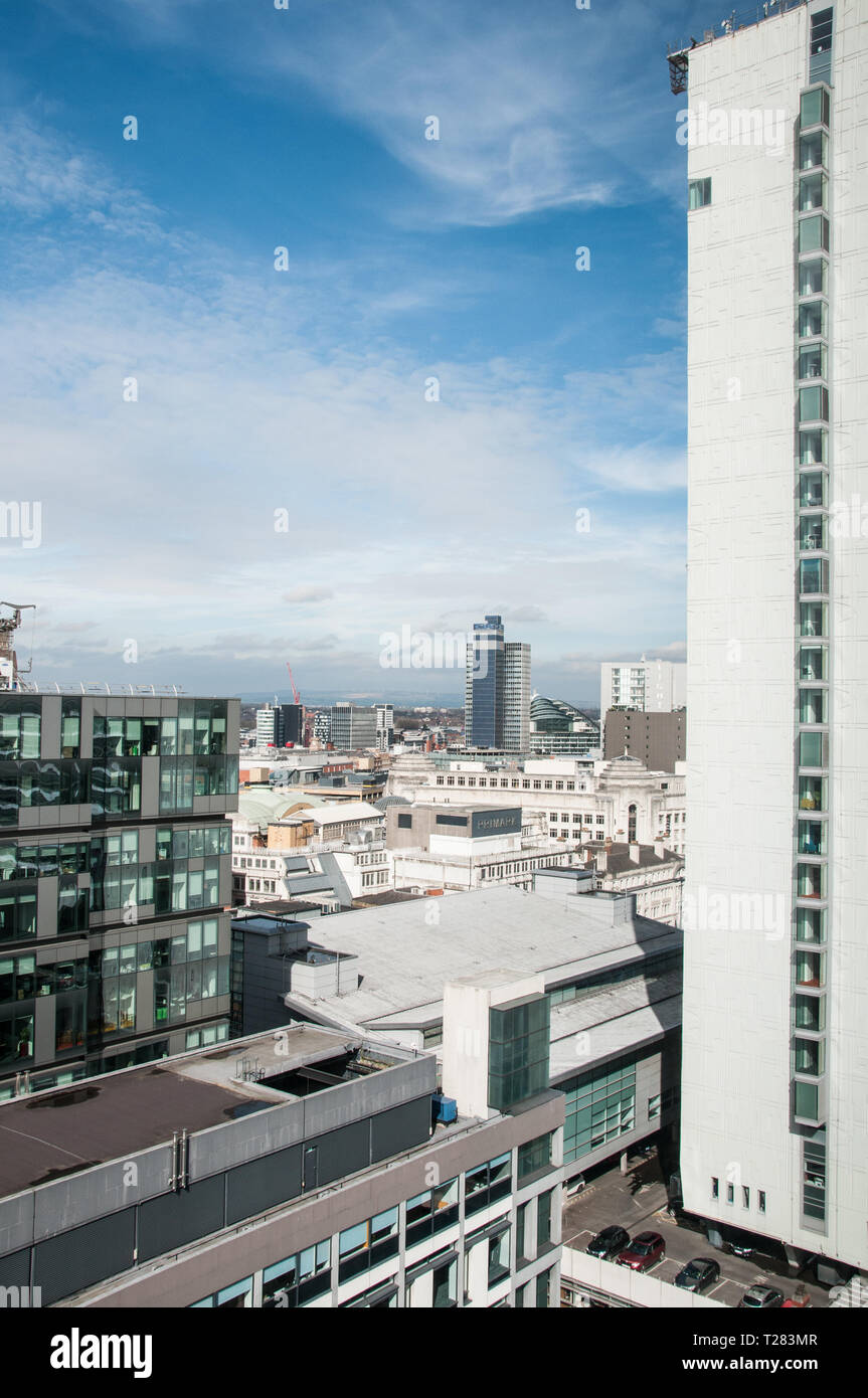 A view across Manchester City Centre from Charlotte Street. - Stock Image