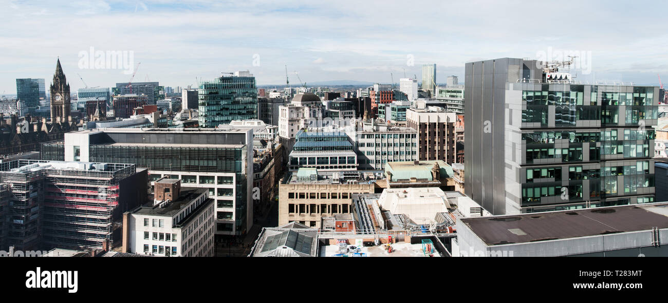 A panoramic view from a building on Charlotte St. Manchester towards Winter Hill. - Stock Image