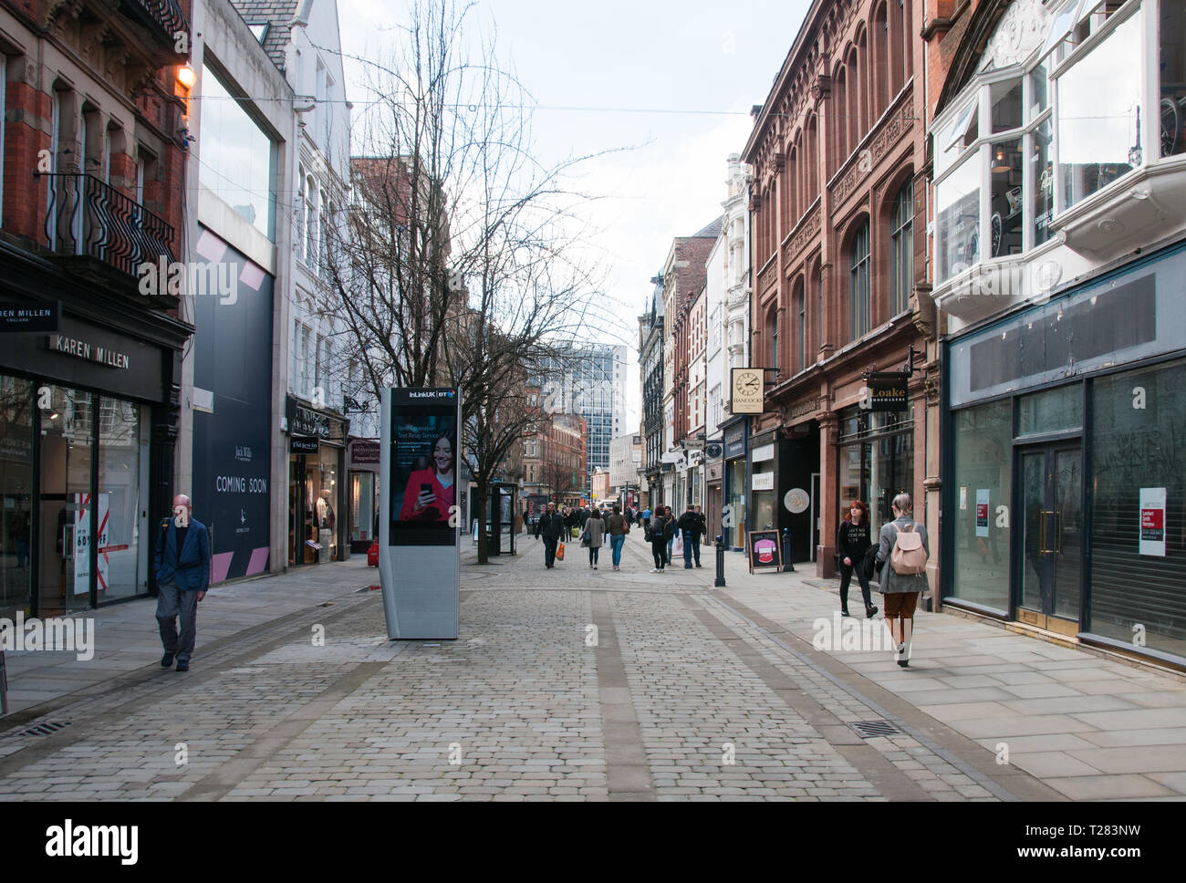 A view down King Street towards Deansgate , Manchester - Stock Image