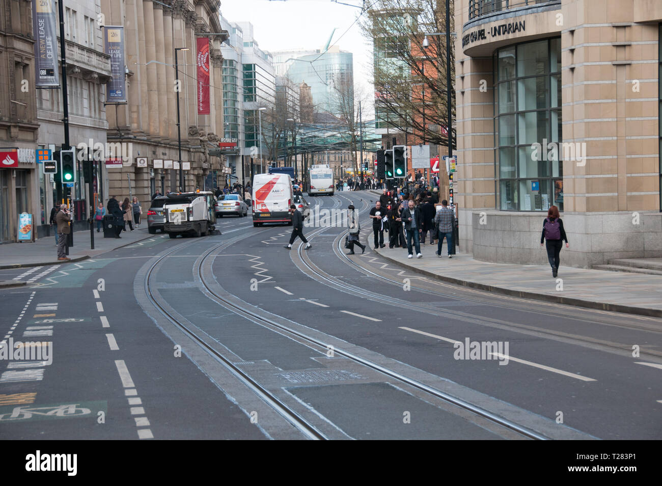 A Spring day on Cross Street in Manchester, UK Stock Photo