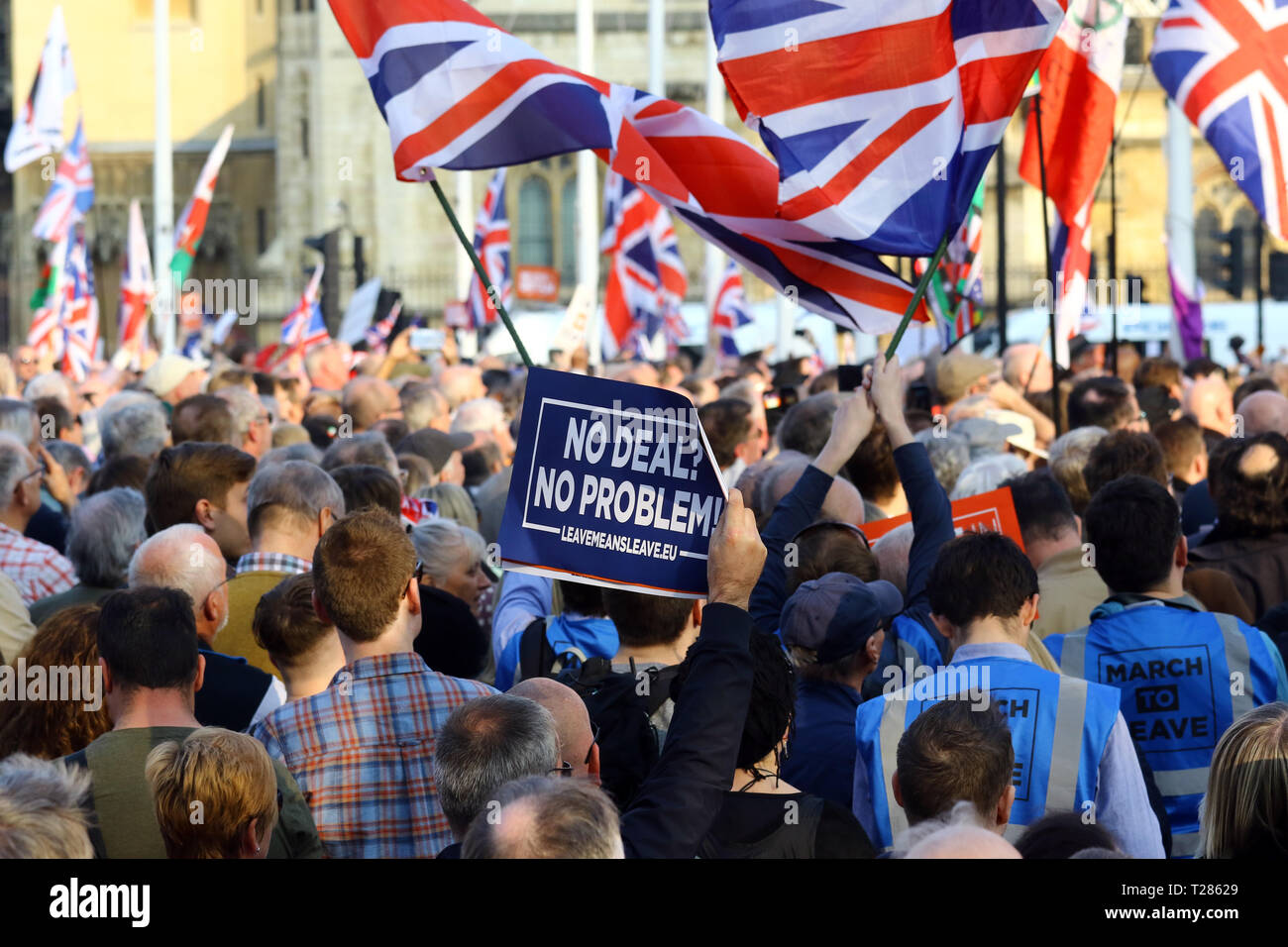 People at the Brexit rally March 2019 - Stock Image