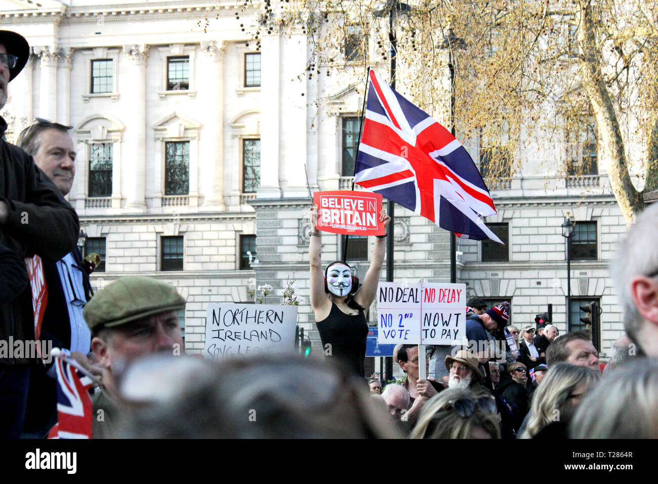 London 29 March 2019. Pro Brexit Demonstrator wearing a Guy Fawkes mask - Stock Image