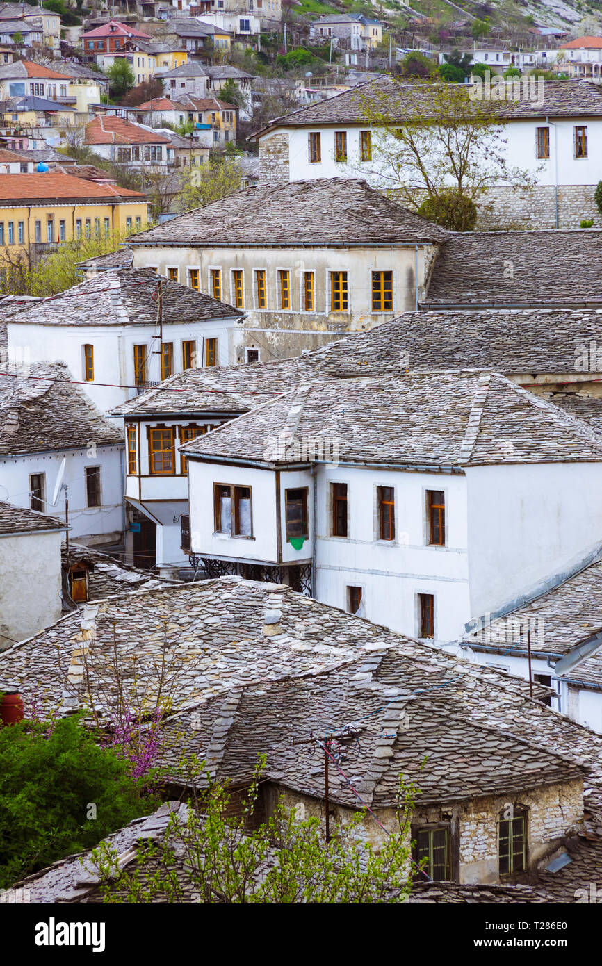 Gjirokaster, Albania : Traditional Ottoman architecture characteristic of the historical center of Gjirokaster. Historic Centres of Berat and Gjirokas - Stock Image
