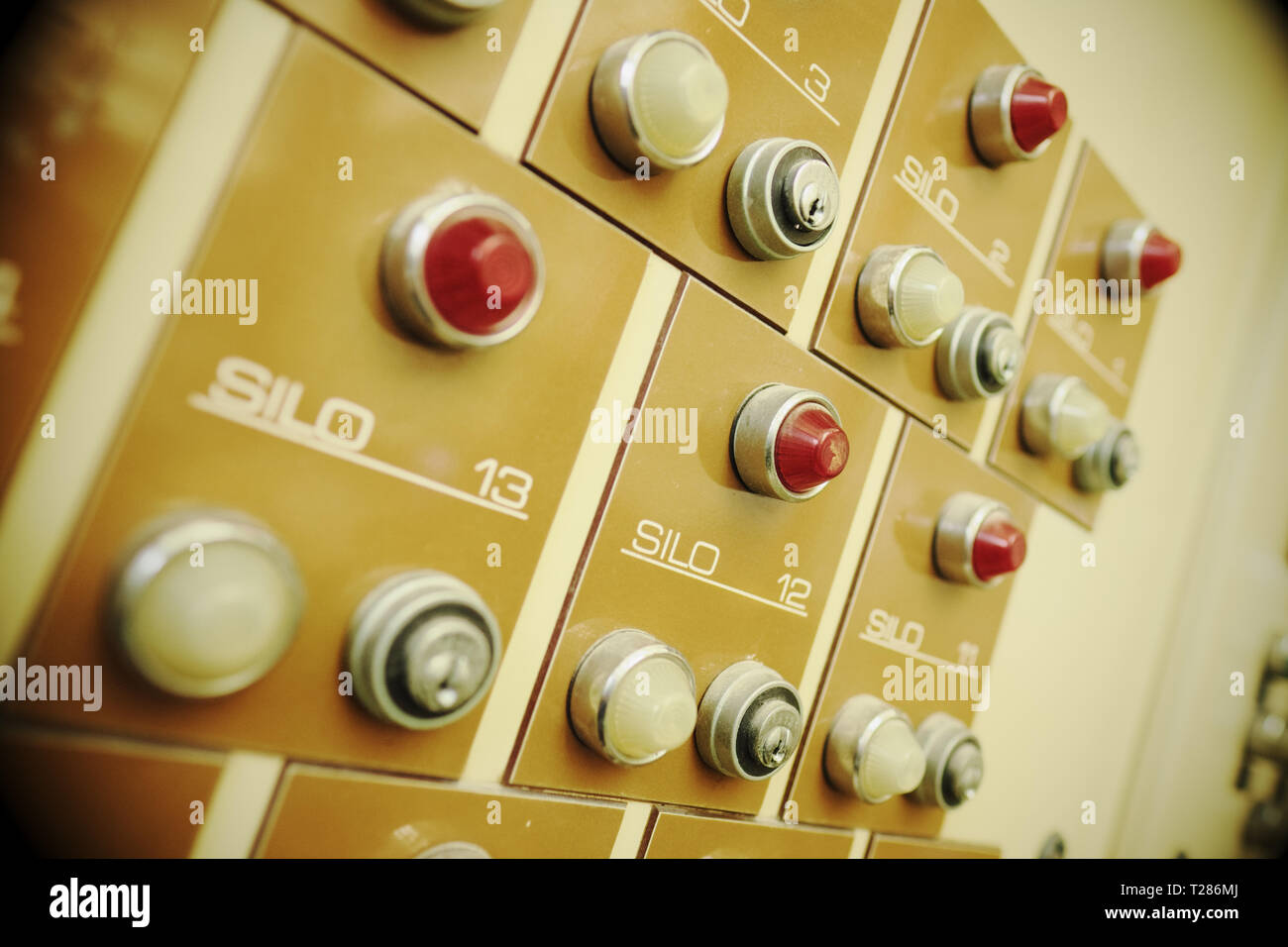 Berlin Germany - Control panel lights and buttons from the former brewery inside the Kindle art centre - Stock Image