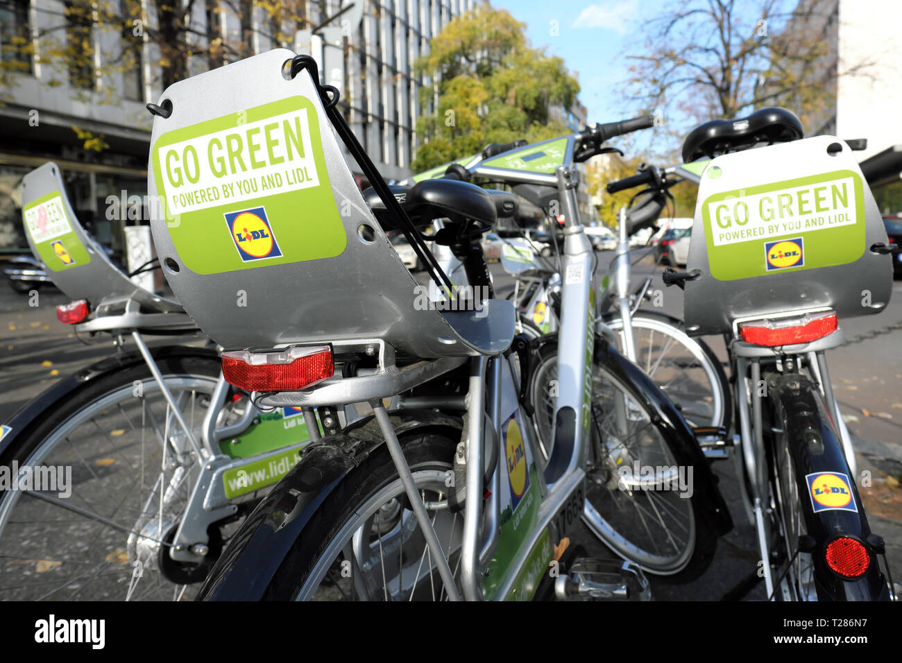 Berlin Germany - Bike sharing hire scheme operated by Lidl - Stock Image