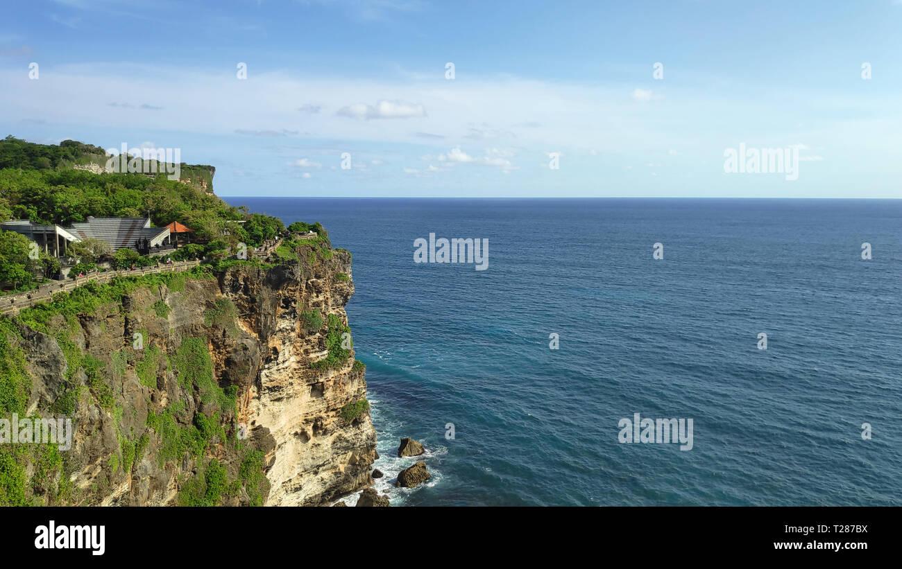 Cliff at Uluwatu Temple or Pura Luhur Uluwatu. One of tourist attraction in Bali Indonesia. Stock Photo