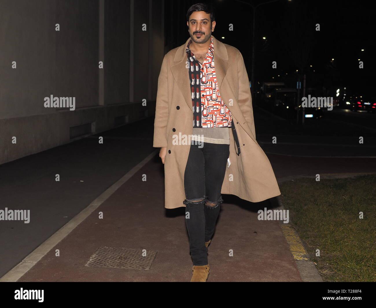 13 Januray 2019 Milan Italy Street Style Outfits Before Prada Fashion Show During Mfw 2019 Man Fall Winter Stock Photo Alamy