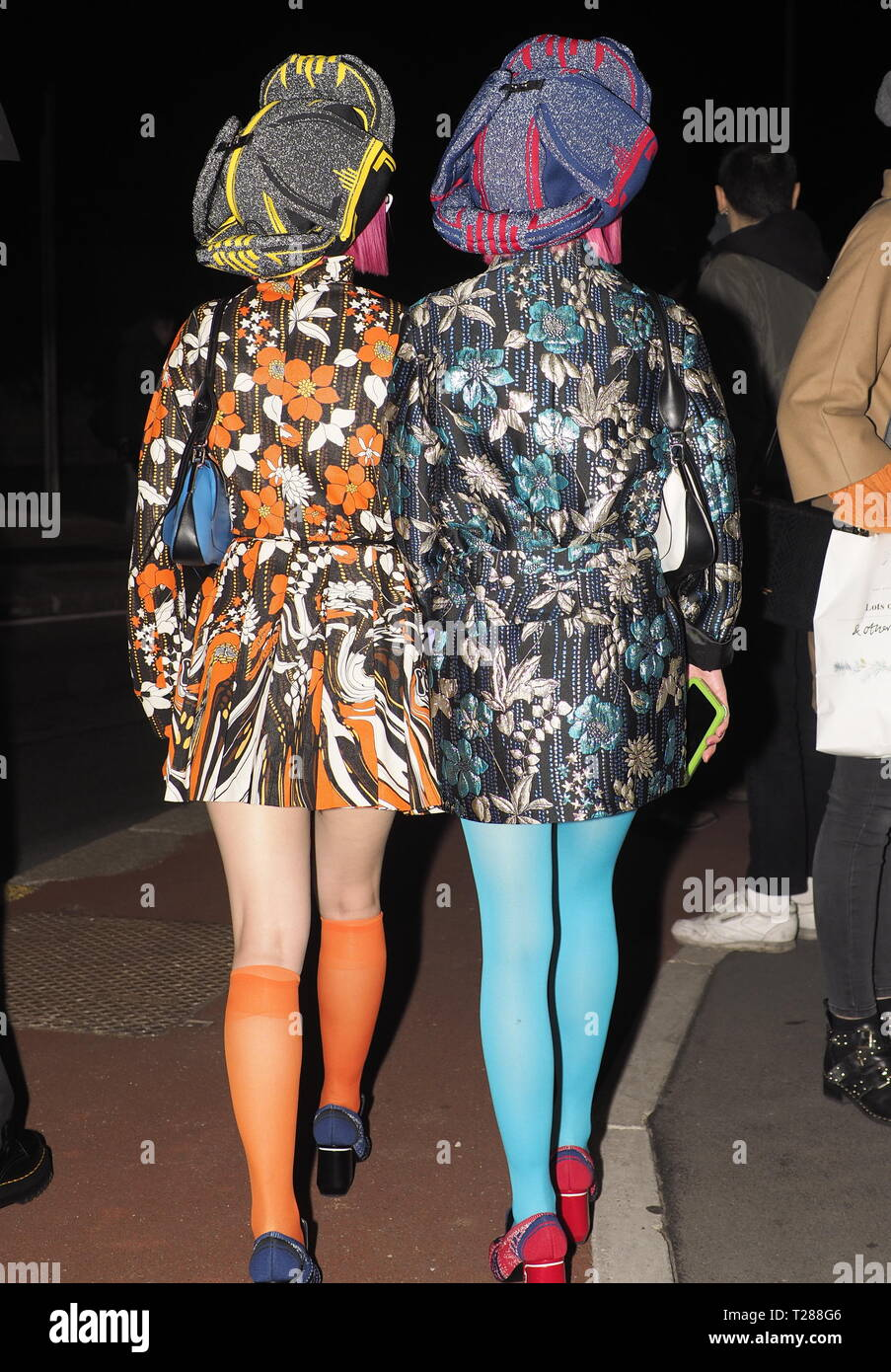 Milan Italy 13 January 2019 Aya And Ami Amiaya Street Style Outfits Before Prada Fashion Show During Milano Fashion Week Man Fall Winter 2019 2020 Stock Photo Alamy