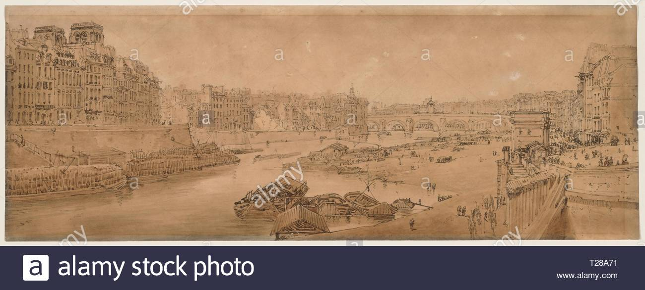 A Selection of Twenty of the Most Picturesque Views in Paris: View of the City with the Louvre taken from the Pont Marie, 1802. Thomas Girtin (British, 1775-1802). Soft-ground etching with bistre wash. - Stock Image
