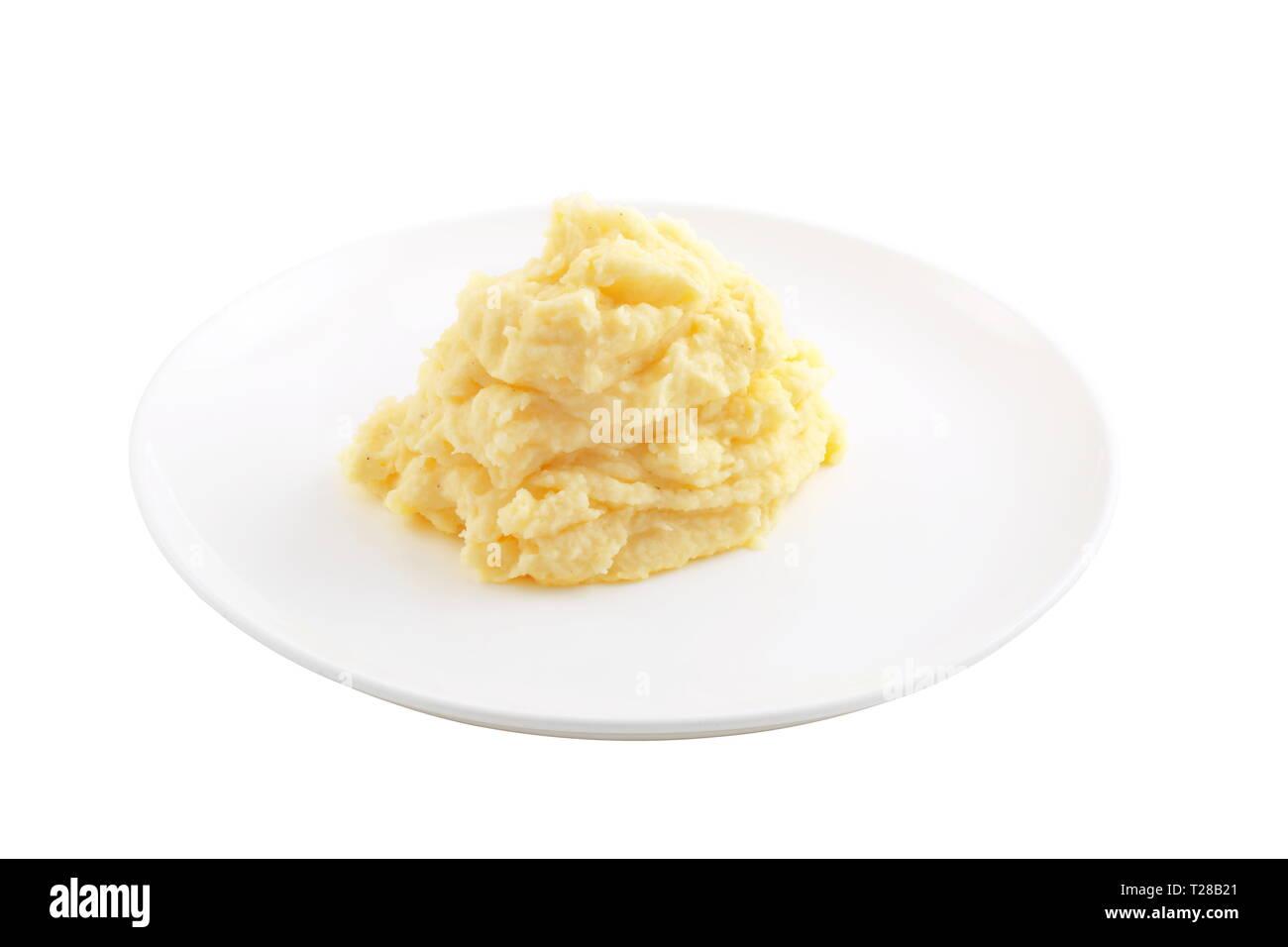Mashed potatoes on a white background - Stock Image