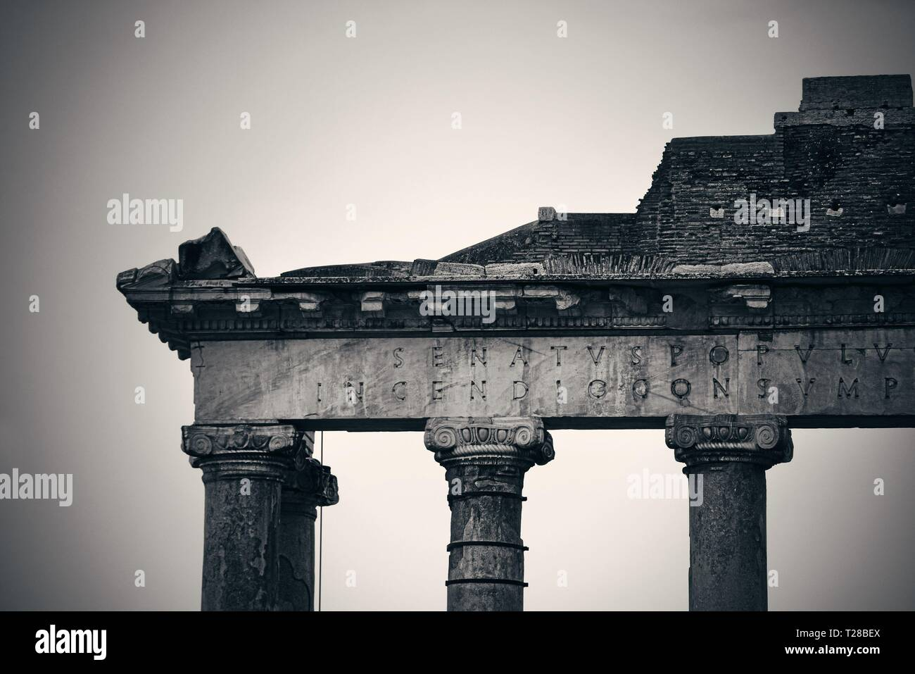 Rome Forum with ruins of historical buildings  Italy Stock Photo