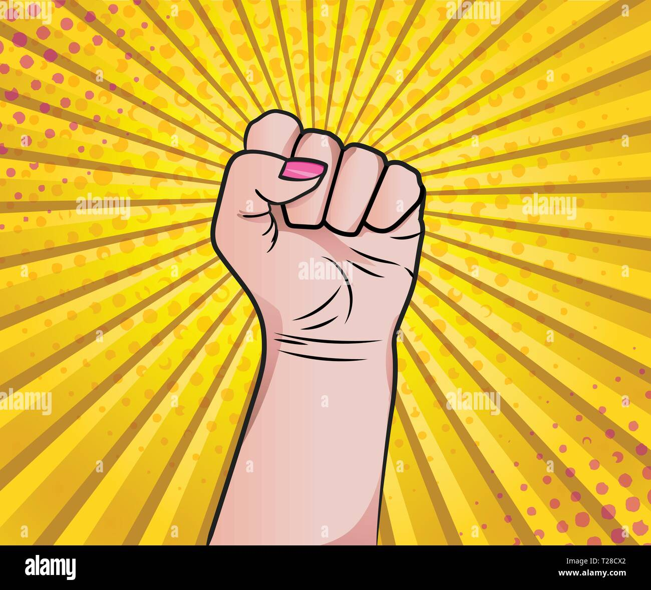 Womans hand in fist as pop art style. I can do it. Be strong - Stock Vector