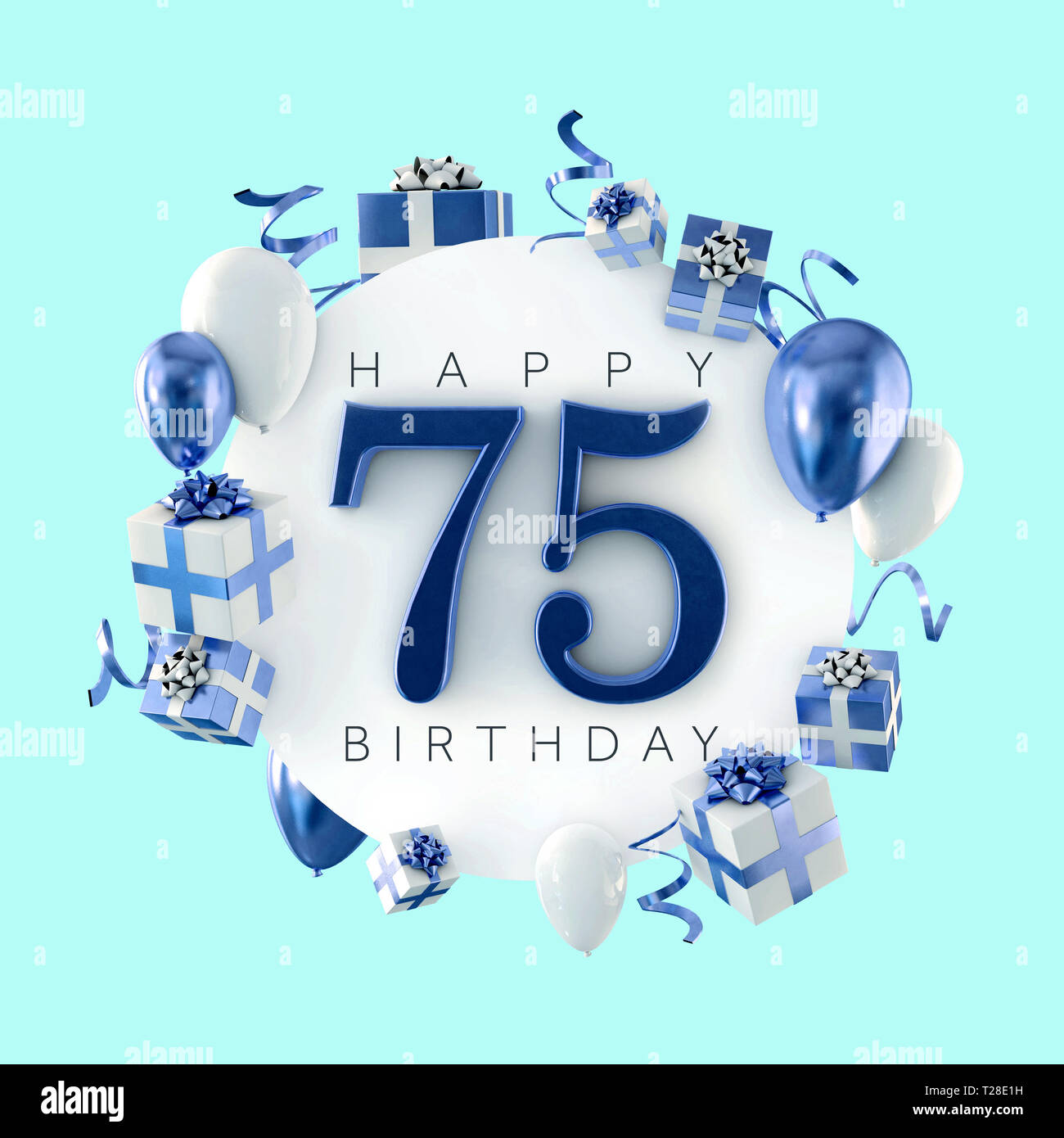 Happy 75th Birthday Party Composition With Balloons And Presents 3D Render