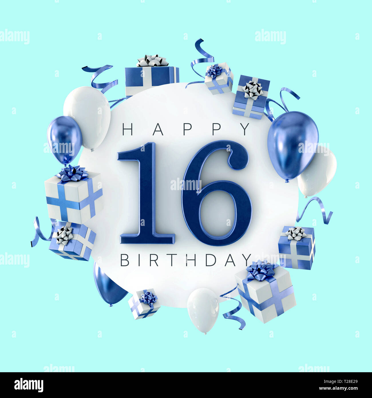 Happy 16th Birthday Party Composition With Balloons And Presents 3D Render