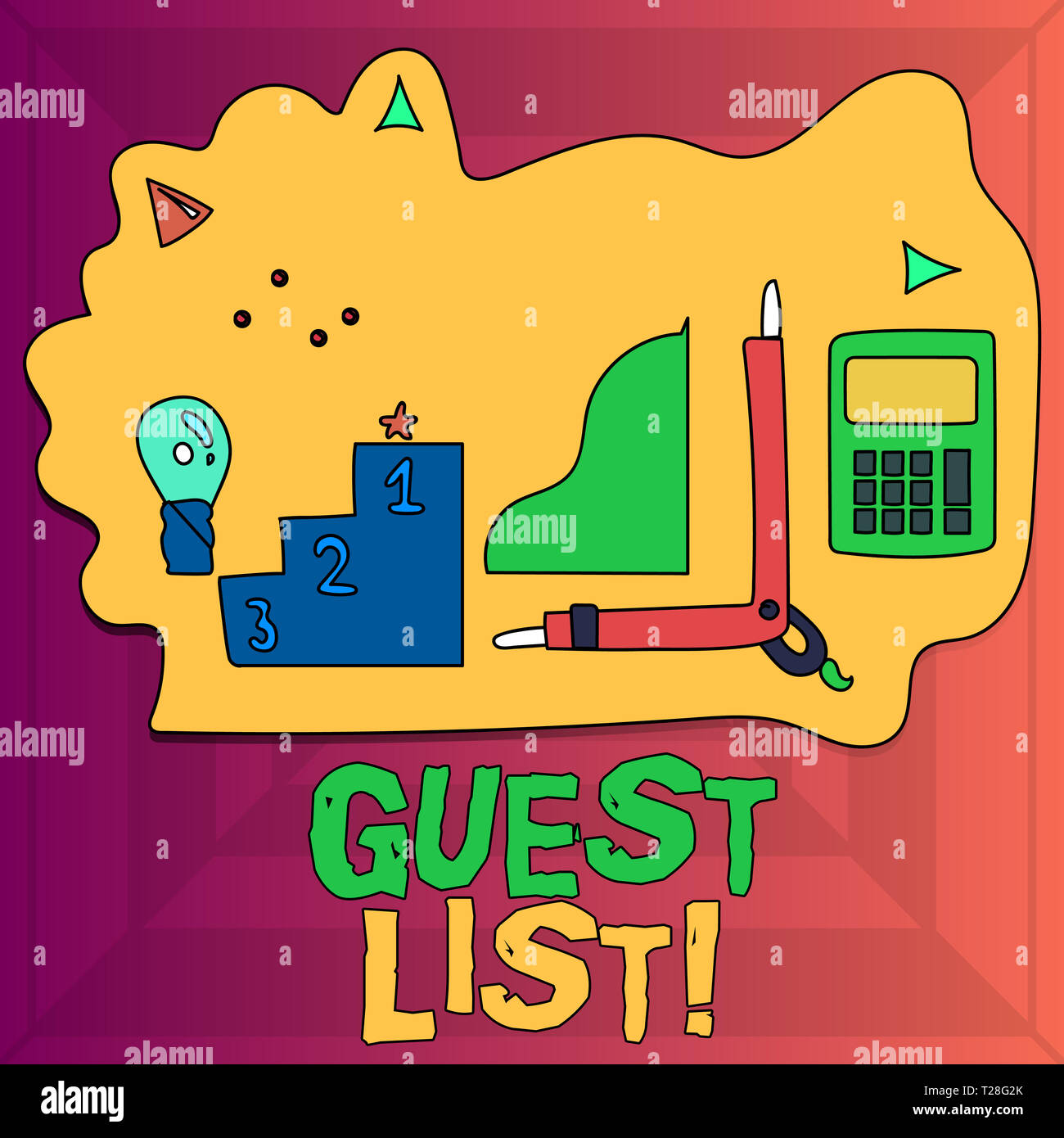 Writing note showing Guest List. Business concept for showing who are to be admitted to concert or similar event Set of Goal Icons for Planning, Advan - Stock Image