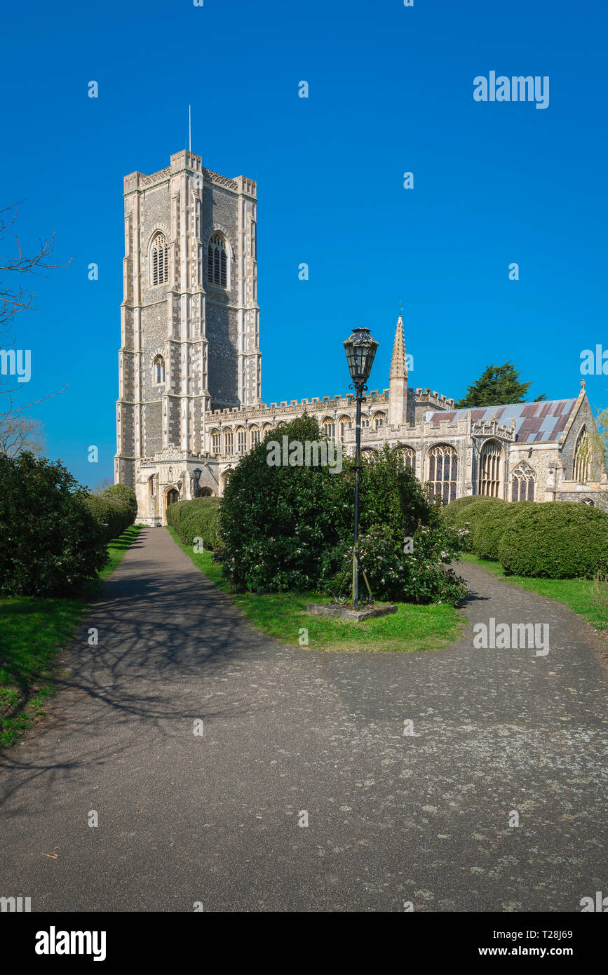 Lavenham Church, view of the late medieval (1525) Church of St Peter & St Paul in the Suffolk village of Lavenham, England, UK. Stock Photo