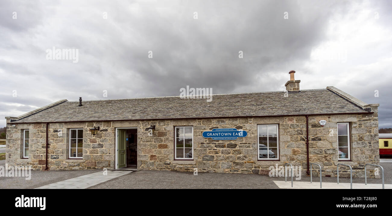 Old refurbished station now gift shop atGrantown East Highland heritage and cultural centre in Grantown on Spey Highland Scotland UK - Stock Image