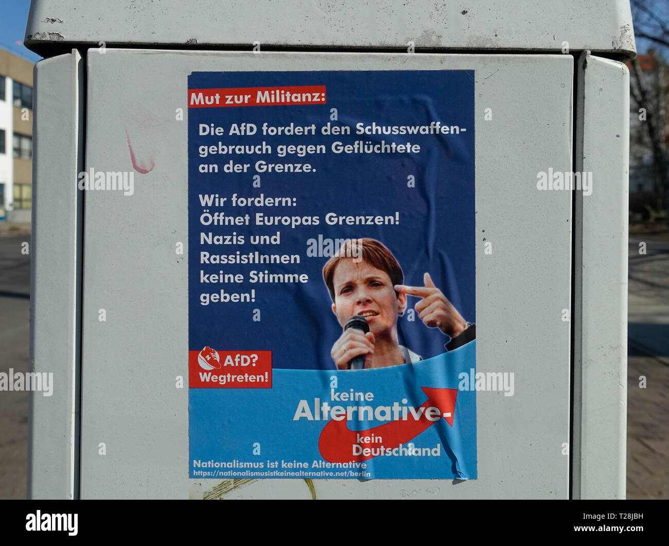 Poster against the AfD, Berlin, Germany - Stock Image