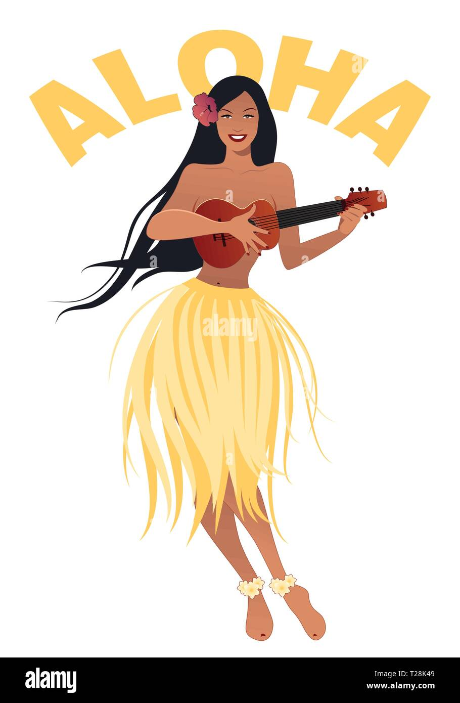 Beautiful and smiling Hawaiian girl wearing skirt of leaves playing ukulele isolated on white background. Retro style - Stock Vector
