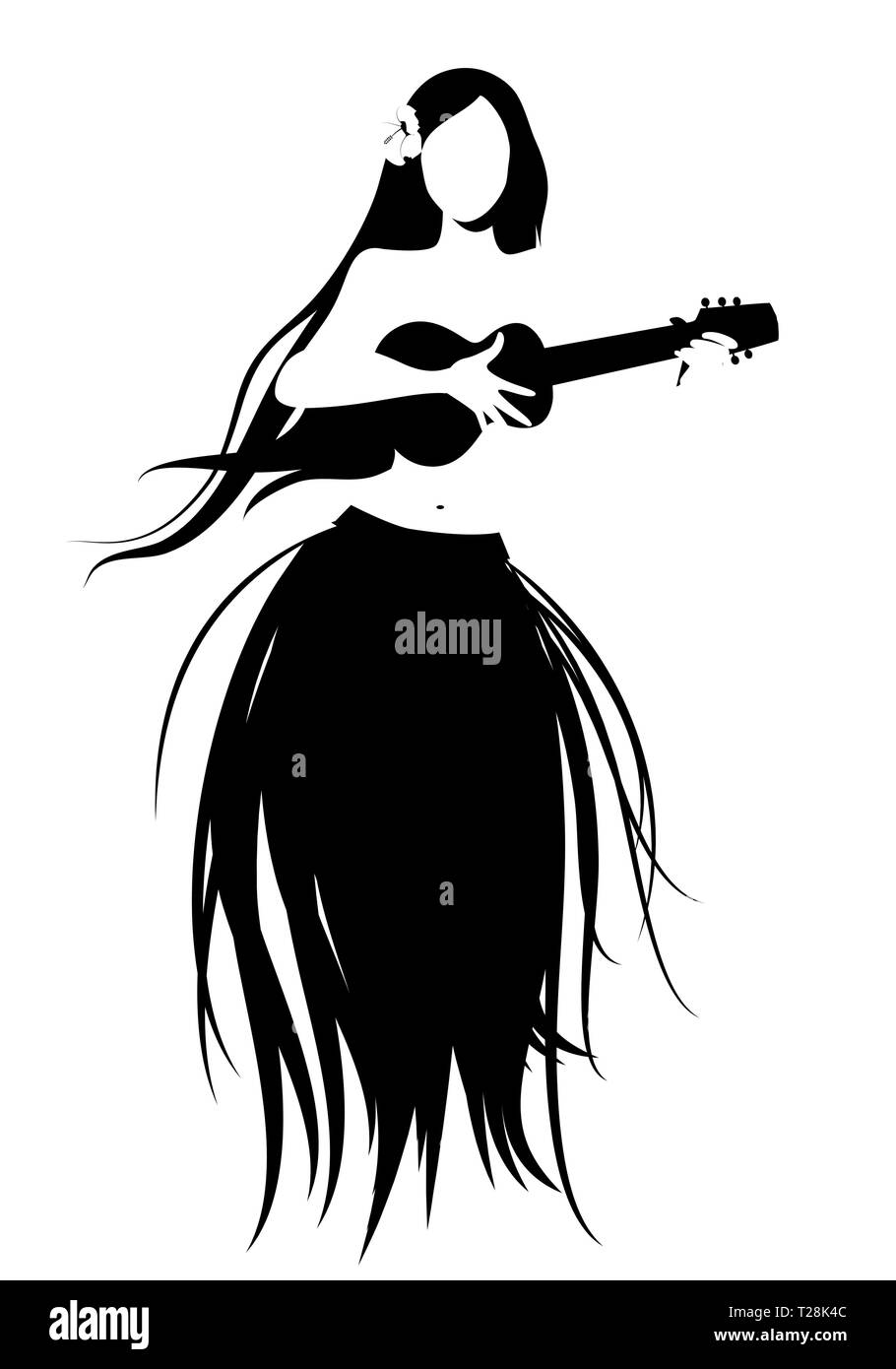 Silhouette of Hawaiian girl wearing skirt of leaves playing ukulele isolated on white background. - Stock Image