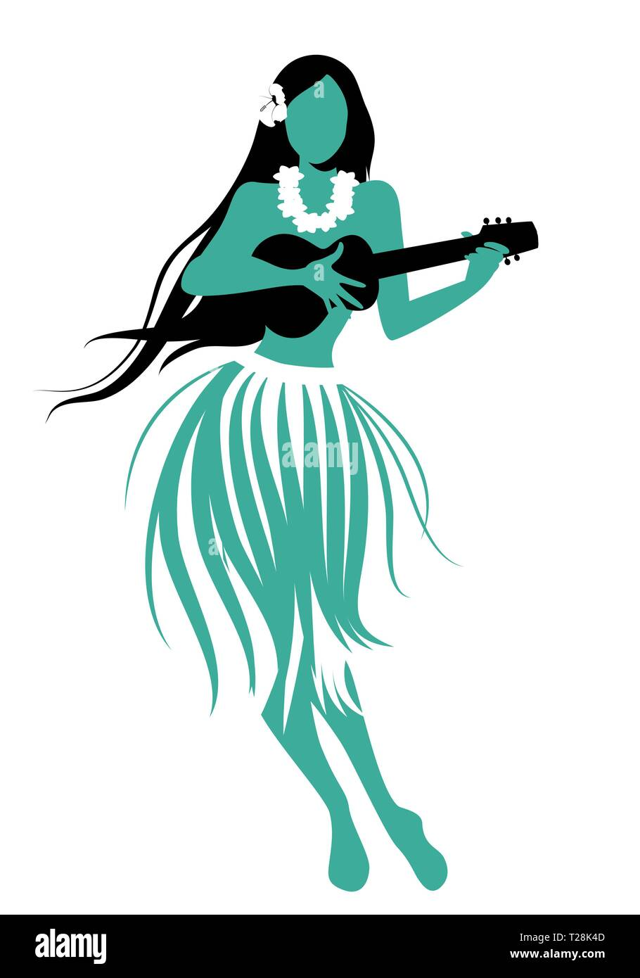 Silhouette of Hawaiian girl wearing skirt of leaves playing ukulele isolated on white background. - Stock Vector