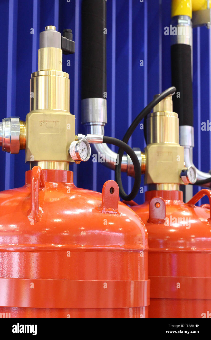Automatic gas extinguishing installation. Modular gas fire extinguishing systems. Cylinders to extinguish the fire. Fire extinguisher. - Stock Image
