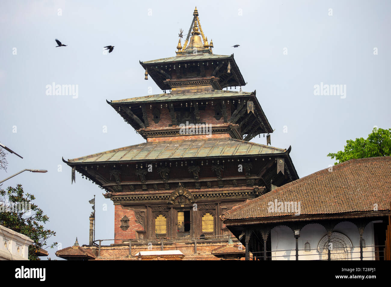 Kathmandu's royal palace, known as the Hanuman Dhoka, was originally founded during the Licchavi period 4th to 8th centuries AD. - Stock Image