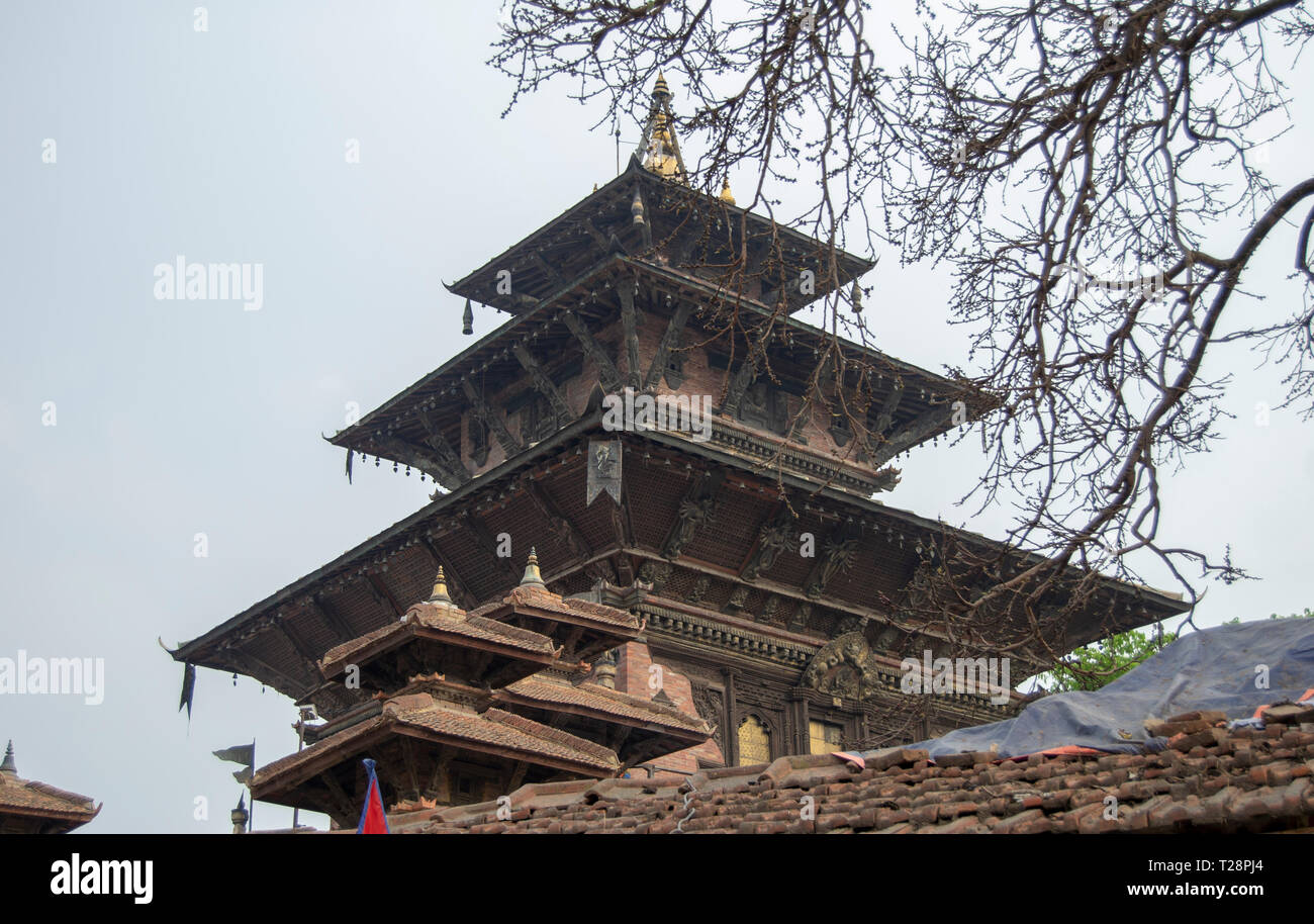 Kathmandu's royal palace, known as the Hanuman Dhoka, was originally founded during the Licchavi period (4th to 8th centuries AD). - Stock Image