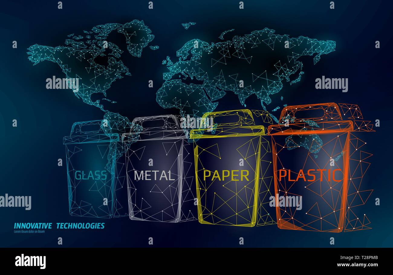 Low poly waste separation world map concept. Garbage recycle plastic aluminium paper glass container bin. Polygonal ecological save planet campaign Stock Vector