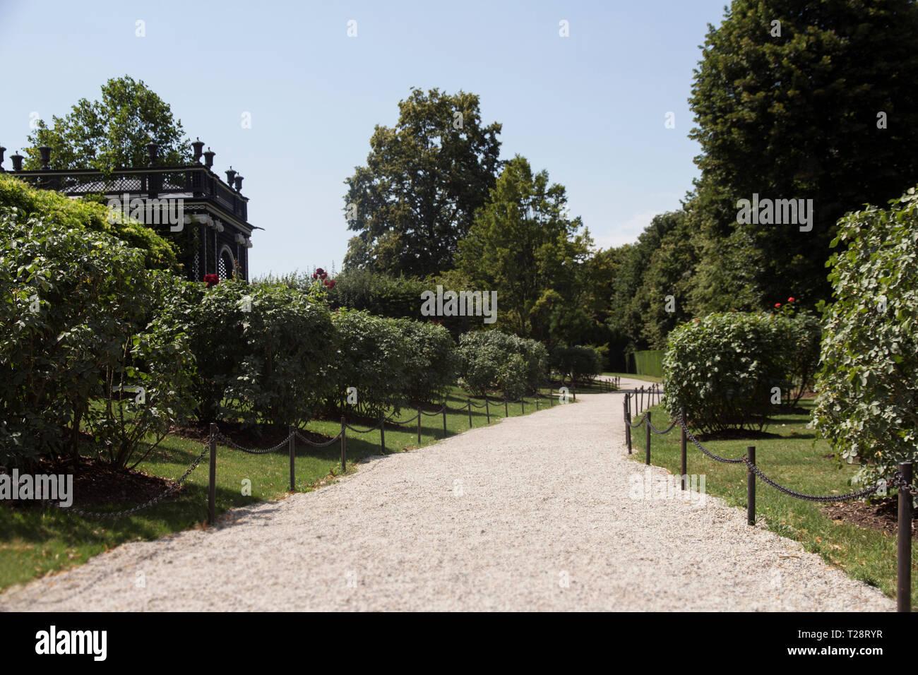 Schonbrunn Palace or Schloss Schönbrunn. Park, Garden Trail - Stock Image