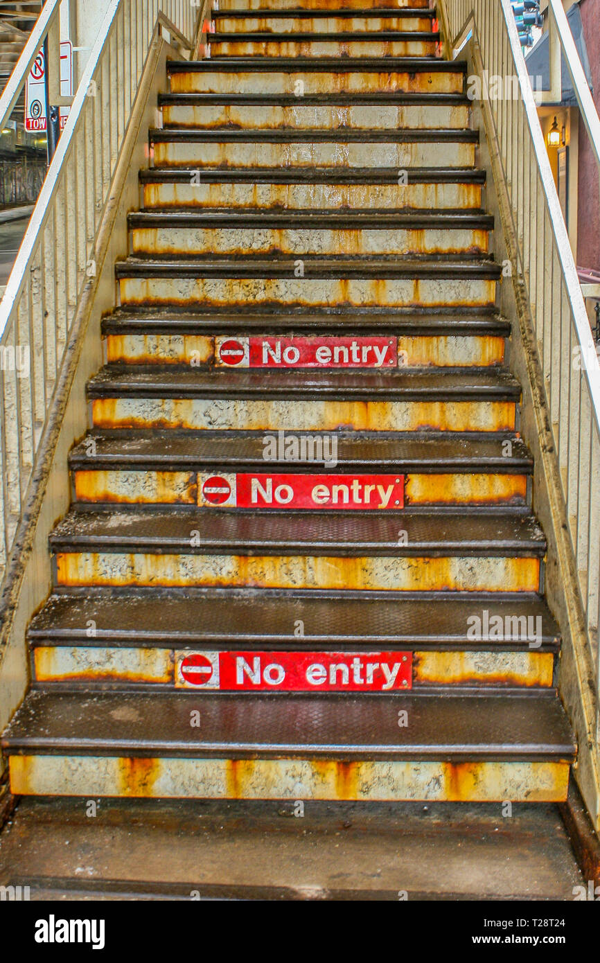 old metal stairway - no entry - Stock Image