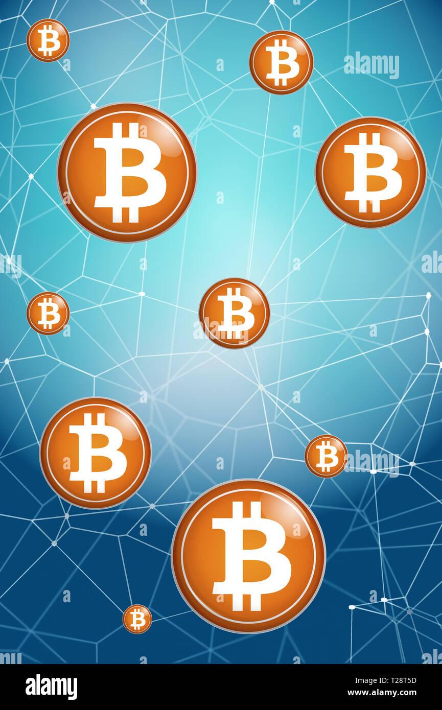 Bitcoin and blockchain concept - Stock Image