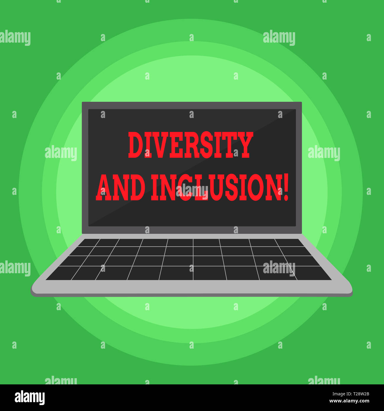 Writing note showing Diversity And Inclusion. Business concept for range huanalysis difference includes race ethnicity gender Laptop with Grid Design  - Stock Image