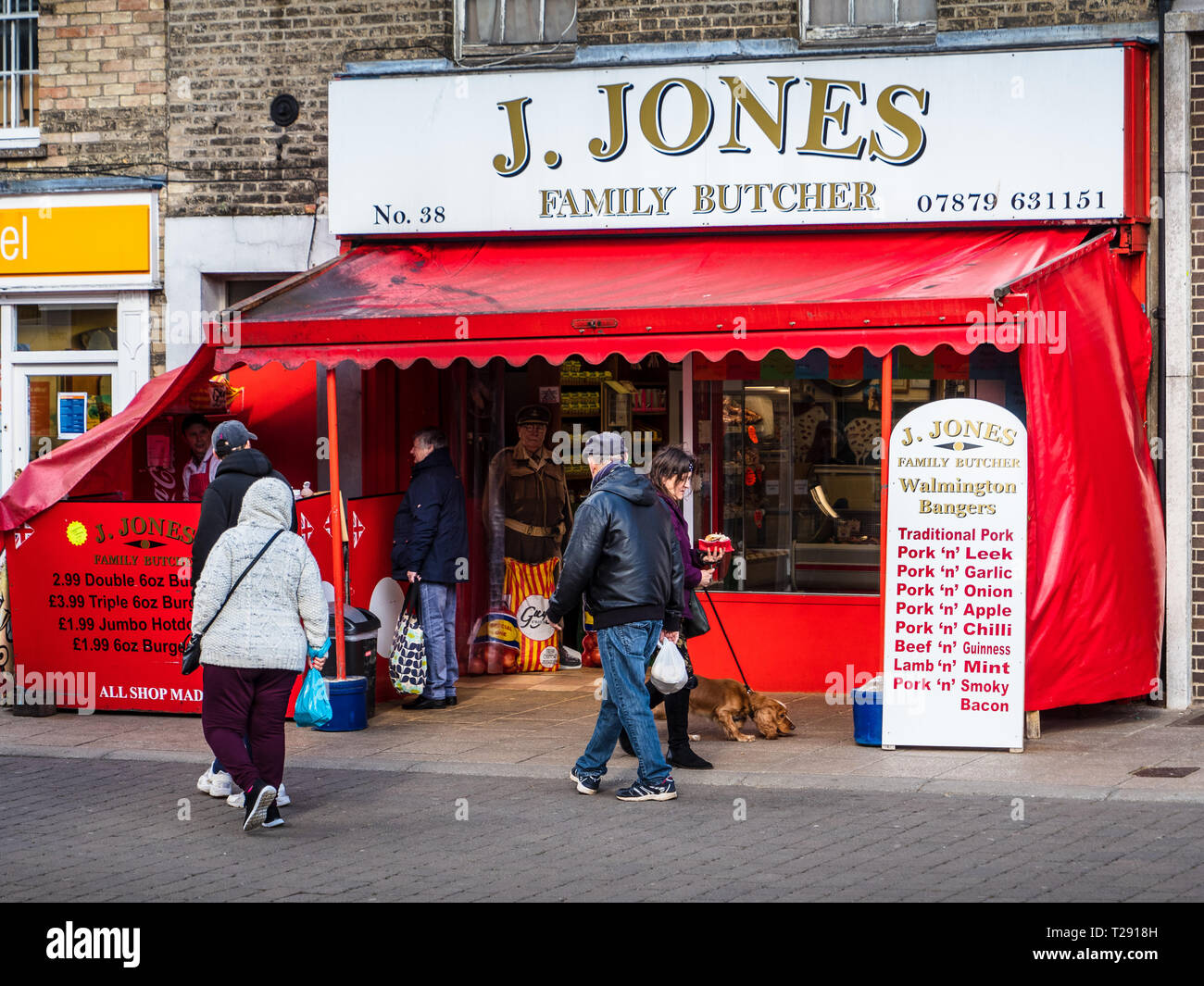 J Jones Family Butcher Thetford Norwich - Dad's Army theme - Dad's Army TV Series filmed in the Thetford area. - Stock Image