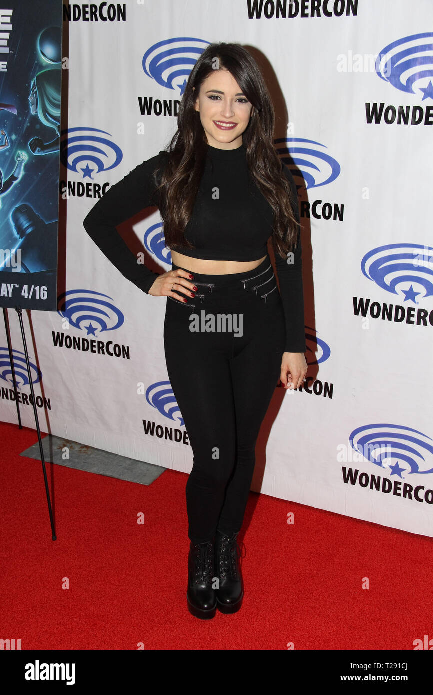 Daniela Bobadilla promotes 'DC's Justice League vs The Fatal Five' at WonderCon 2019 on Day 1 held at The Anaheim Convention Center in Anaheim, CA on March 29, 2019. Photo by: Richard Chavez / PictureLux - Stock Image
