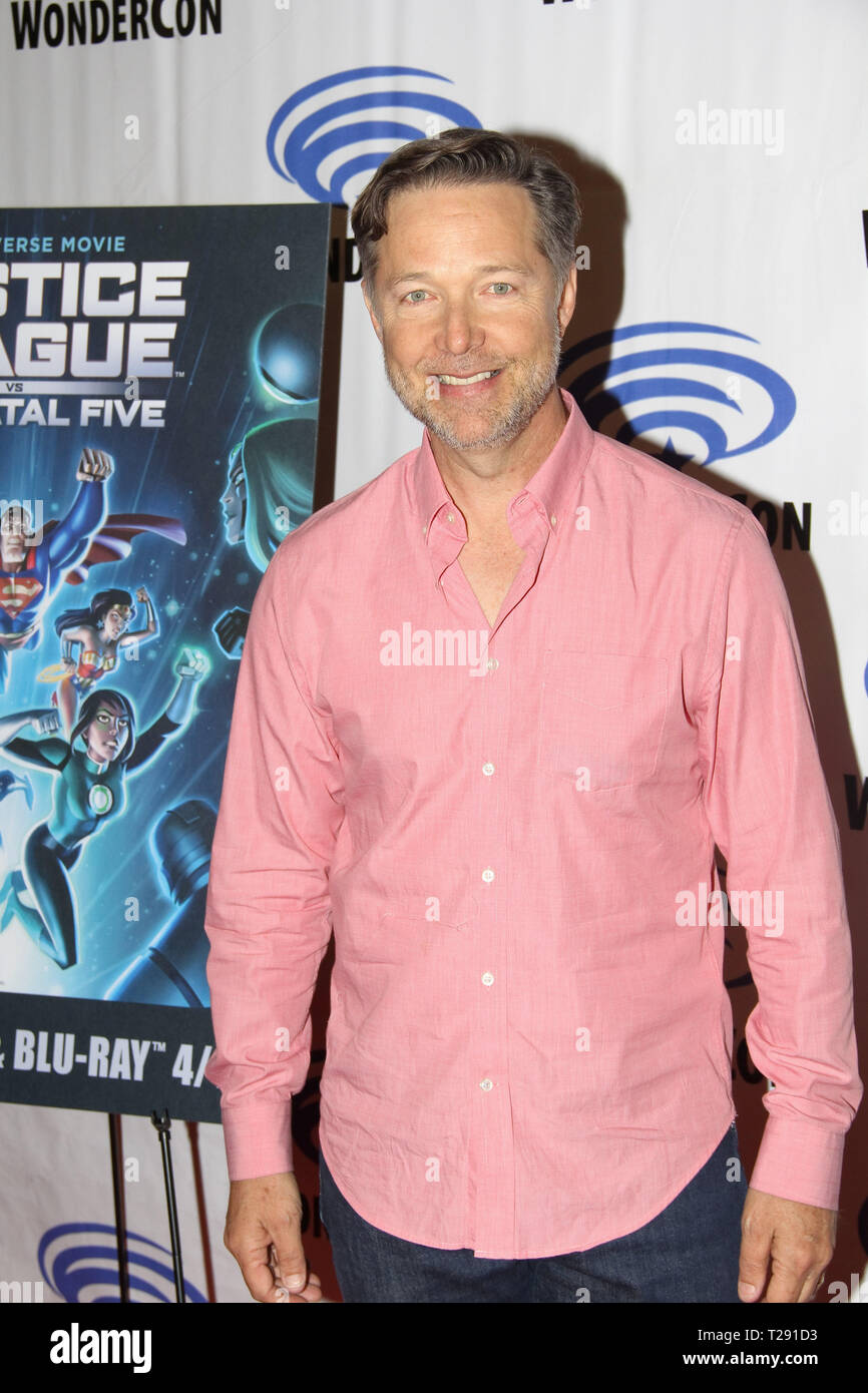 George Newbern promotes 'DC's Justice League vs The Fatal Five' at WonderCon 2019 on Day 1 held at The Anaheim Convention Center in Anaheim, CA on March 29, 2019. Photo by: Richard Chavez / PictureLux - Stock Image
