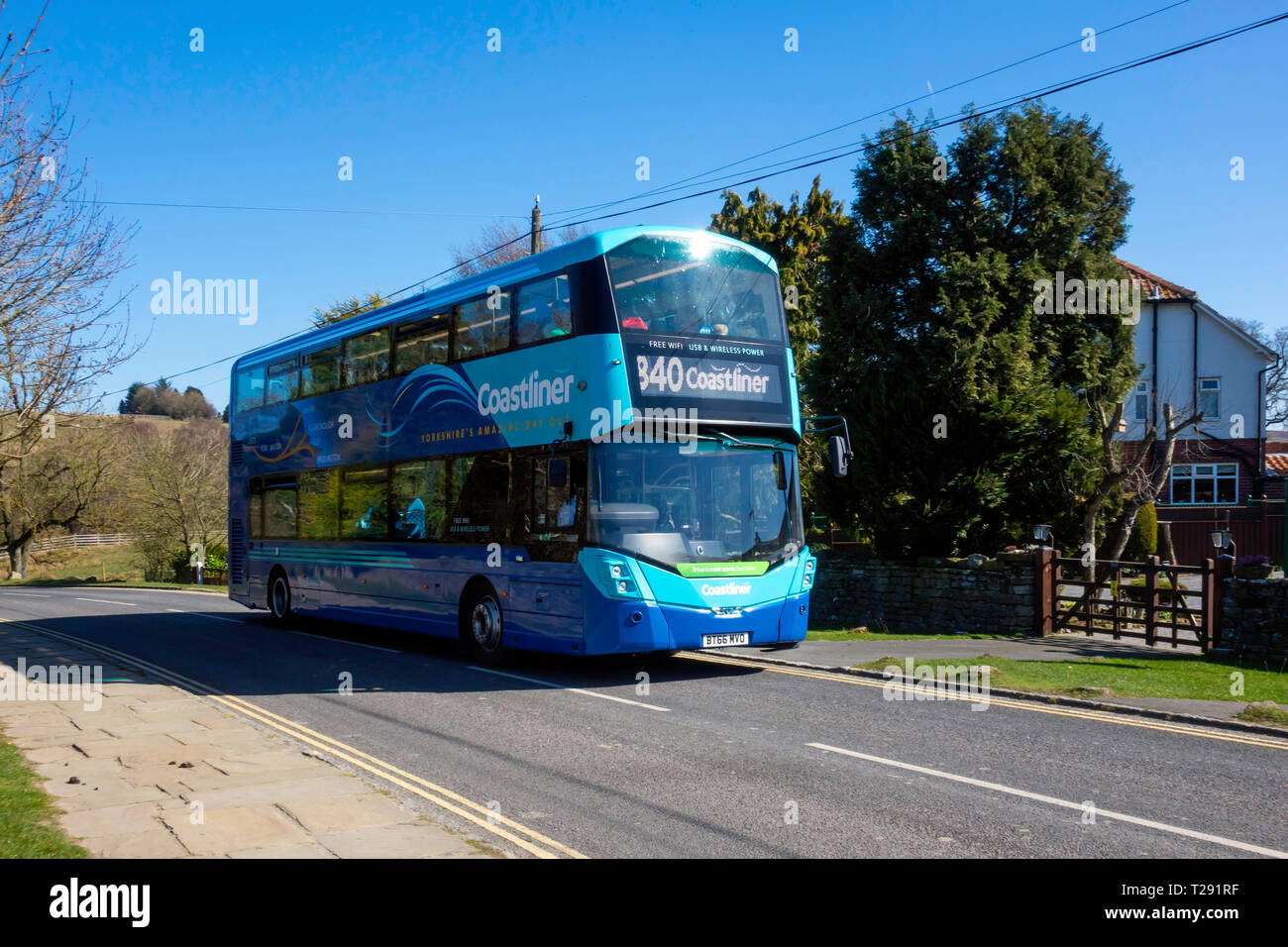 Yorkshire Coastliner bus service from Leeds and York to coastal towns Scarborough Whitby Filey and Bridlington, passing through Goathland on the Moors Stock Photo