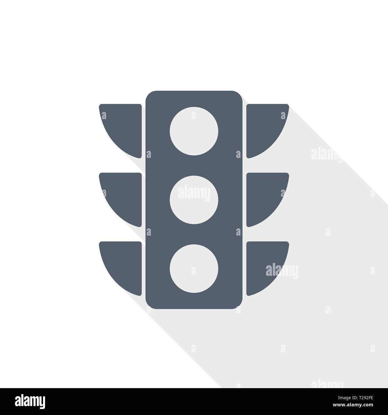 traffic lights web icon, flat design vector illustration Stock Vector