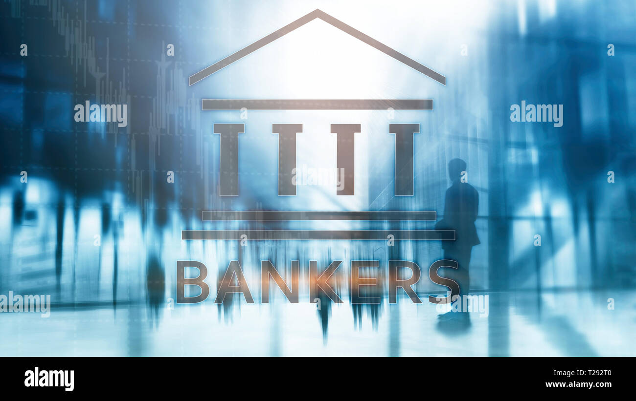 Bankers businessman people on abstract background. Financial concept - Stock Image