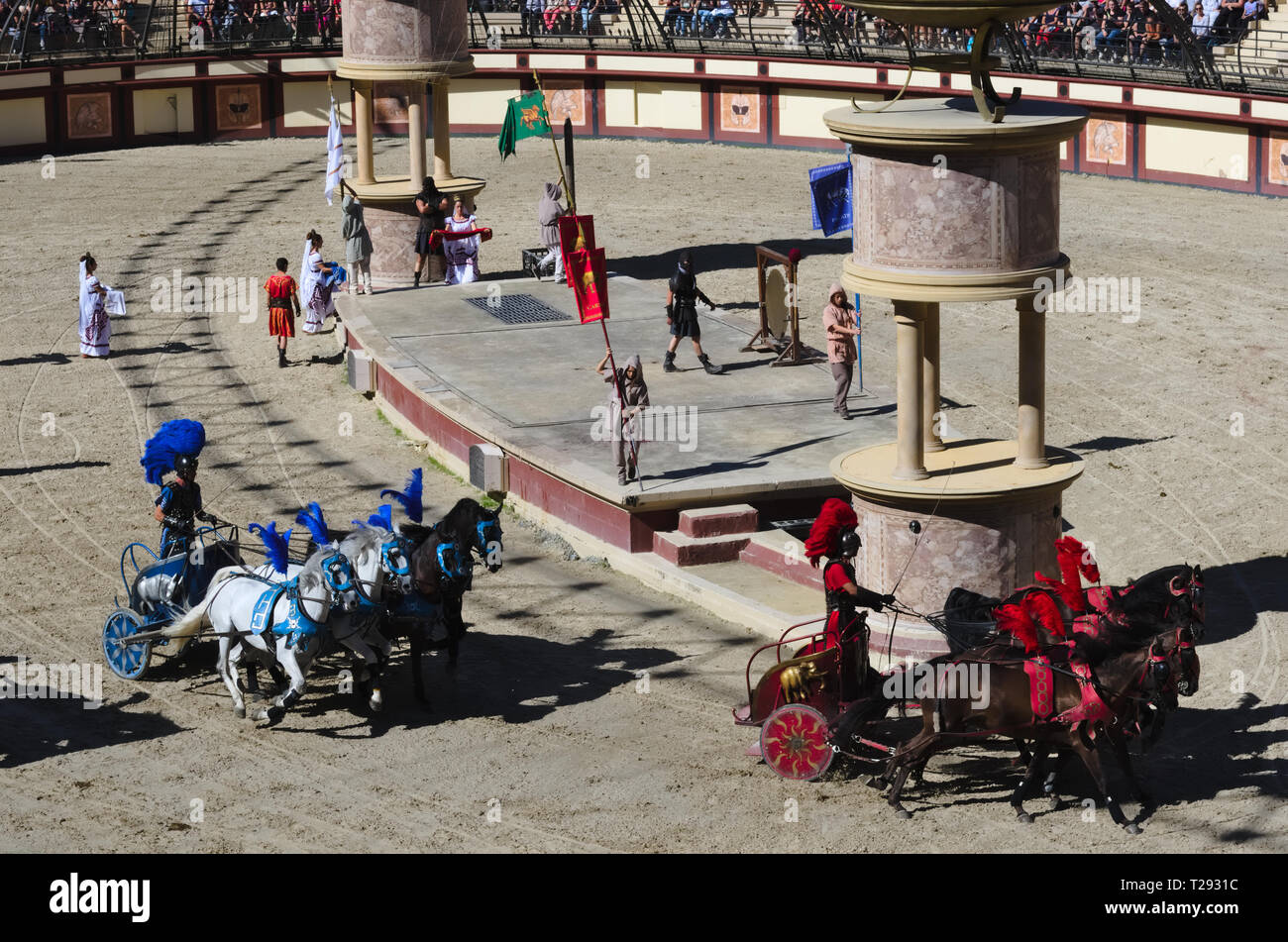 Les Epesses, France - September 8, 2018 : Chariot horse racing in a life-size Roman stadium in Puy du fou - Stock Image