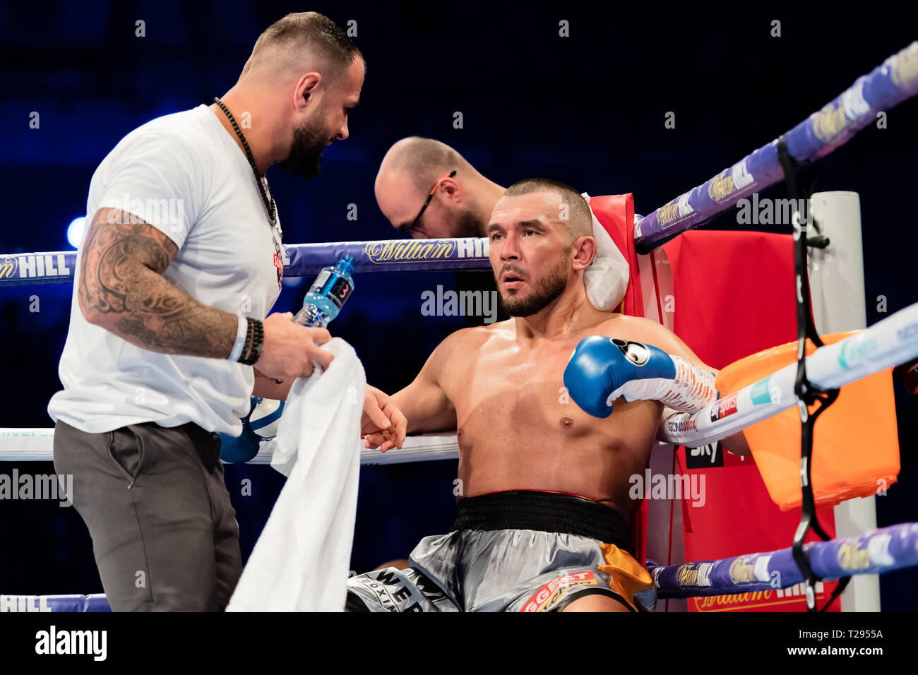 Liverpool, UK. 30th March 2019. Craig Clover vs Vaclav Pejsar - Cruiserweight Contest during Liam Smith vs. Sam Eggington - WBC Silver Super-Welterweight Championship at M&S Bank Arena on Saturday, 30 March 2019. LIVERPOOL, ENGLAND. (Editorial use only, license required for commercial use. No use in betting, games or a single club/league/player publications.) Credit: Taka G Wu/Alamy News - Stock Image