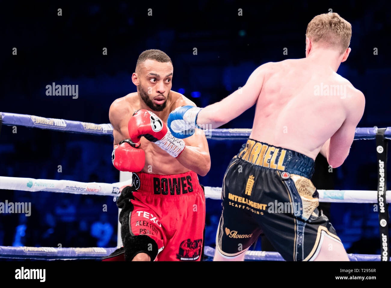 Liverpool, UK. 30th March 2019. Philip Bowes vs Tom Farrell - Commonwealth Super-Lightweight Championship during Liam Smith vs. Sam Eggington - WBC Silver Super-Welterweight Championship at M&S Bank Arena on Saturday, 30 March 2019. LIVERPOOL, ENGLAND. (Editorial use only, license required for commercial use. No use in betting, games or a single club/league/player publications.) Credit: Taka G Wu/Alamy News - Stock Image