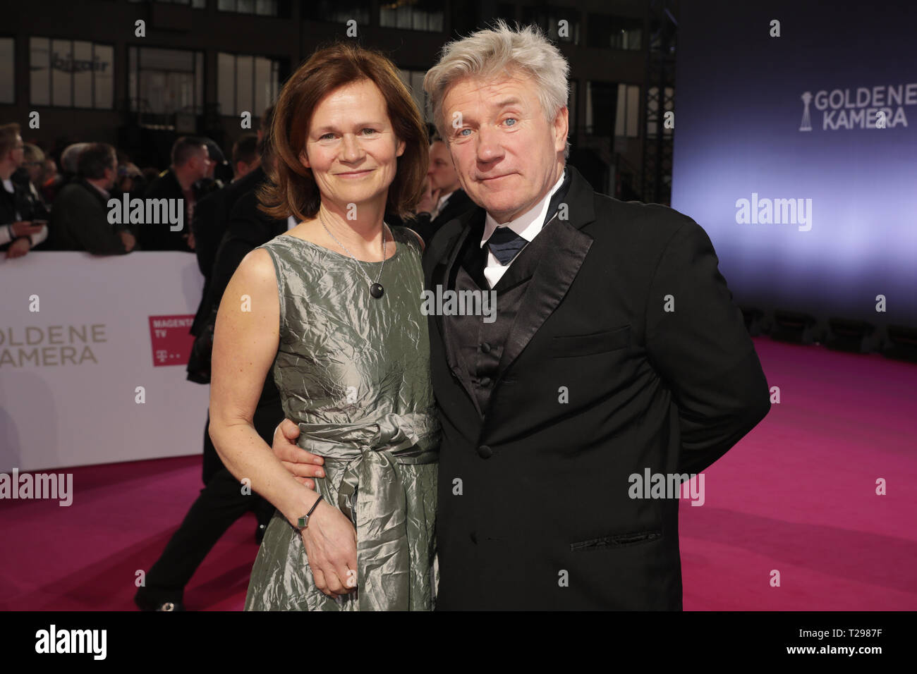 Berlin, Germany. 30th Mar, 2019. Jörg Schüttauf, actor, and his wife Martina Beeck attend the award ceremony for the Golden Camera. Credit: Christoph Soeder/dpa/Alamy Live News - Stock Image